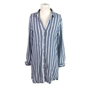 Cloth and Stone Blue Small Striped Dress or Tunic